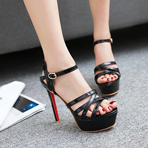 Mee Shoes Women's Sexy Buckle Stiletto Platform Sandals Black IrHnEazp