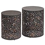 Bronze Drum Side Table PH 2 Piece 21 Inch Black Accent Table, Contemporary Style Indoor Side Table Modern Style Round Shaped End Table Antique Bronze Finish Highly Durable Drum Design, Metal