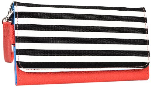 Kroo Clutch Wristlet Wallet for 4-Inch Smartphones - Retail Packaging - Coral with Black and White Stripes ()