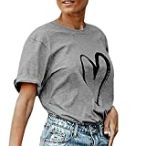 Spbamboo Women Ladies Love Printing O-Neck T-Shirt Short Sleeve Tops Blouse