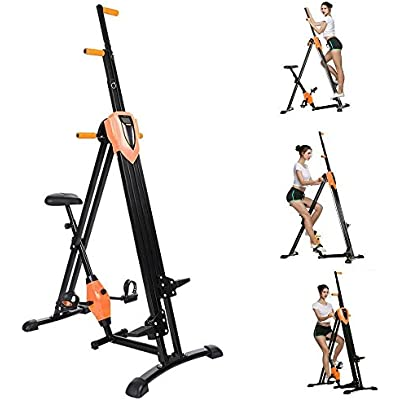 Vividy 2 in 1 Vertical Climber Step Fitness Machine Folding Full Body Exercise Climbing Cardio Machine Workout for Home Office Gym Exercise (US Stock)