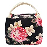 Lunch Bag, Stylish Canvas Lunch Box Bag Cute School Office Tote Lunch Handbags for Women, Girls, Adults and Kids (Peony Flower)