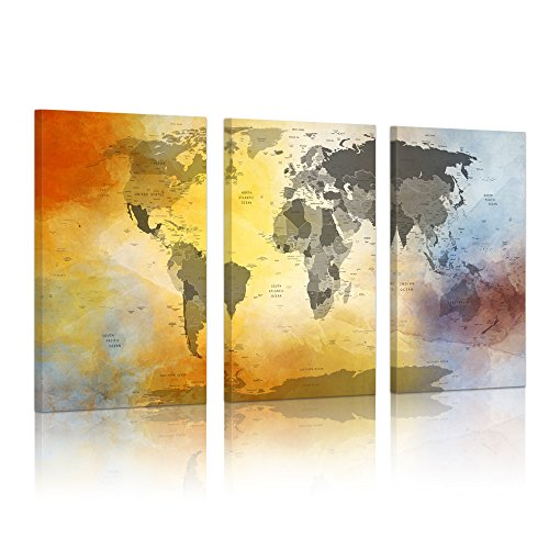 (Visual Art Decor XXLarge 3 Panel Retro Colorful World Map Canvas Prints Push Pin Travel World Map Painting Poster with Frame Ready to Hang (03 Antique Map))