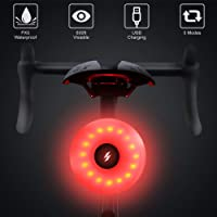 WOTOW Bike Rear Light, Waterproof USB Rechargeable Bike Tail Light IPX5 Waterproof 5 Light Mode Bike Back Light for Road Bikes Helmets Backpacks