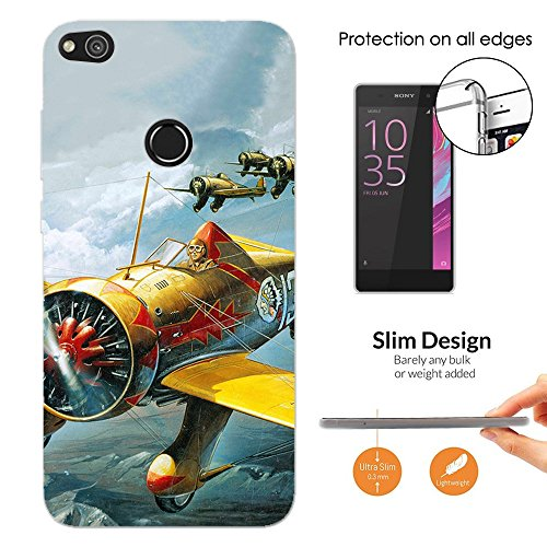Price comparison product image 002909 - Old Army Vintage Fighter Planes War Soldiers Huawei P8 Lite 2017/ P9 Lite 2017 CASE Slim Light All Edges Protection Cover