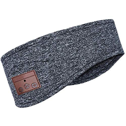 Wireless Music Headband Sweatband Headwear Strap with Built in Wireless Speaker and Headset for Gym Exercise Running Sleeping Gray