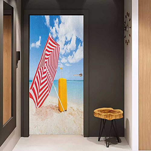 Onefzc Soliciting Sticker for Door Yellow and Blue Windy Sandy Beach with Sunshade and Trolley Summer Holiday Relax Picture Mural Wallpaper W38.5 x H77 Multicolor