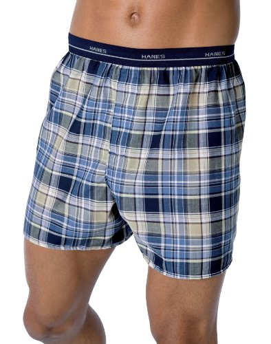 Hanes ComfortSoft Woven Boxer 3 Pack - Size: XL, Color: Plaid ()