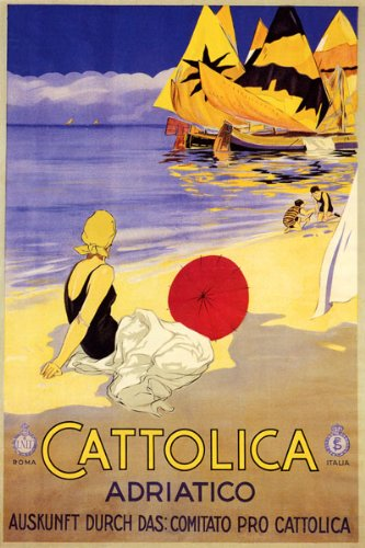 - GIRL BEACH OCEAN SAILBOAT UMBRELLA CATTOLICA ADRIATICO ITALIA ITALY LARGE VINTAGE POSTER REPRO ON CANVAS !!!!!
