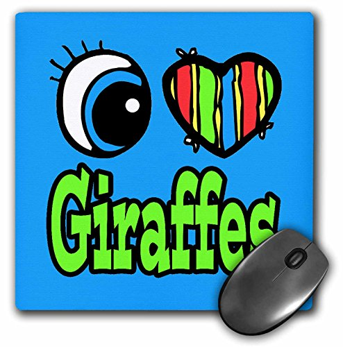 3dRose Dooni Designs Eye Heart I Love Designs - Bright Eye Heart I Love Giraffes - MousePad (mp_106117_1) (Giraffe Bright Eyes)