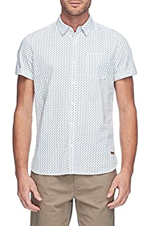 Mossimo Men's Buckly Short Sleeve Shirt, White, X-Small