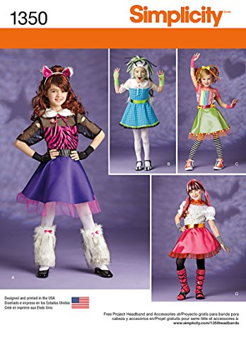 Skelita Calaveras Monster High Doll Costume (Simplicity Creative Patterns 1350 Child's and Girls' Sewing Patterns, Size K5 (7-8-10-12-14))
