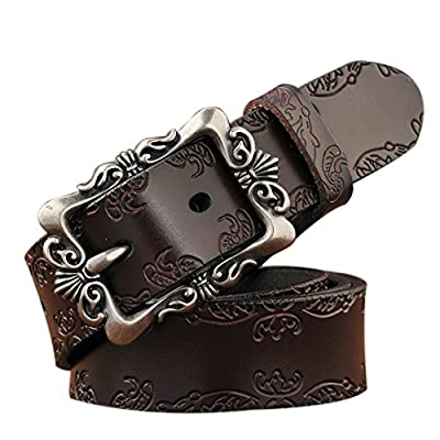 TUNGHO Genuine Leather Belts For Women Cowhide Embossing Design Carving Buckle Plus Size XXL