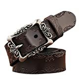 TUNGHO Genuine Leather Belts For Women Cowhide Embossing Design Carving Buckle