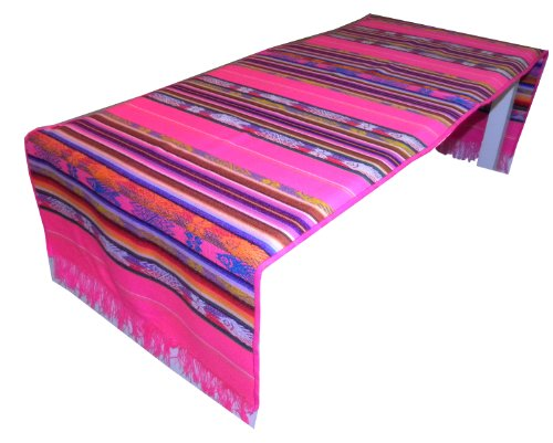 Serape Hand Woven Traditional Fish Pattern on Table Runner, Pink by - Fiesta Fish