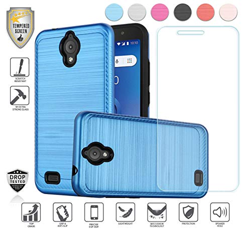 Compatible for At&t Axia QS5509a Case, Cricket Vision Case, with Tempered Glass Screen Protector, Premium Tough Armor Shield Metallic Brushed Design Hybird [Shockproof] (Blue) (At And T Cell Phone Cases)