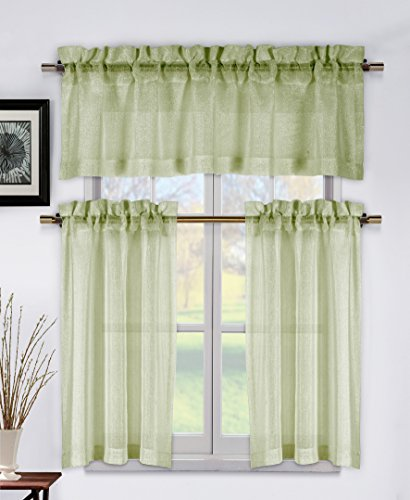 - Metallic Sage Green 3 Piece Kitchen Window Curtain Set: 1 Valance, 2 Tier Panels (Sage Green)