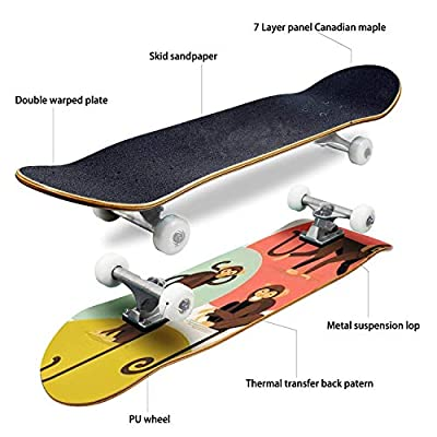 Classic Concave Skateboard Set of Lovely Flat Design Vector Monkey Characters in Different Poses Longboard Maple Deck Extreme Sports and Outdoors Double Kick Trick for Beginners and Professionals : Sports & Outdoors