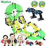 Syslux RC Car with Track, Racing Track Car,860cm Car Race Track Set Speeding Racing Car with 3D Track,2 Cars, 2 Hand-Operated Controllers, Assembly for Children Educational Toy Birthday