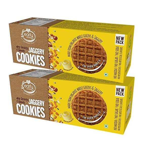 Early Foods Kids Organic Jaggery Dry Fruit Cookies Snack,150g Each - Pack of 2
