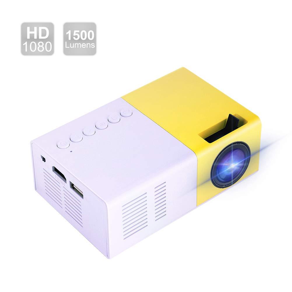 Garsent Mini proiettore, 1500 Lumens Videoproiettore portatile Supporto LED HD 1080P HDMI USB VGA Proiettore di proiezione SD SD Compatibile con iPhone iPad Smartphone TV Xbox PC.(EU Plug)
