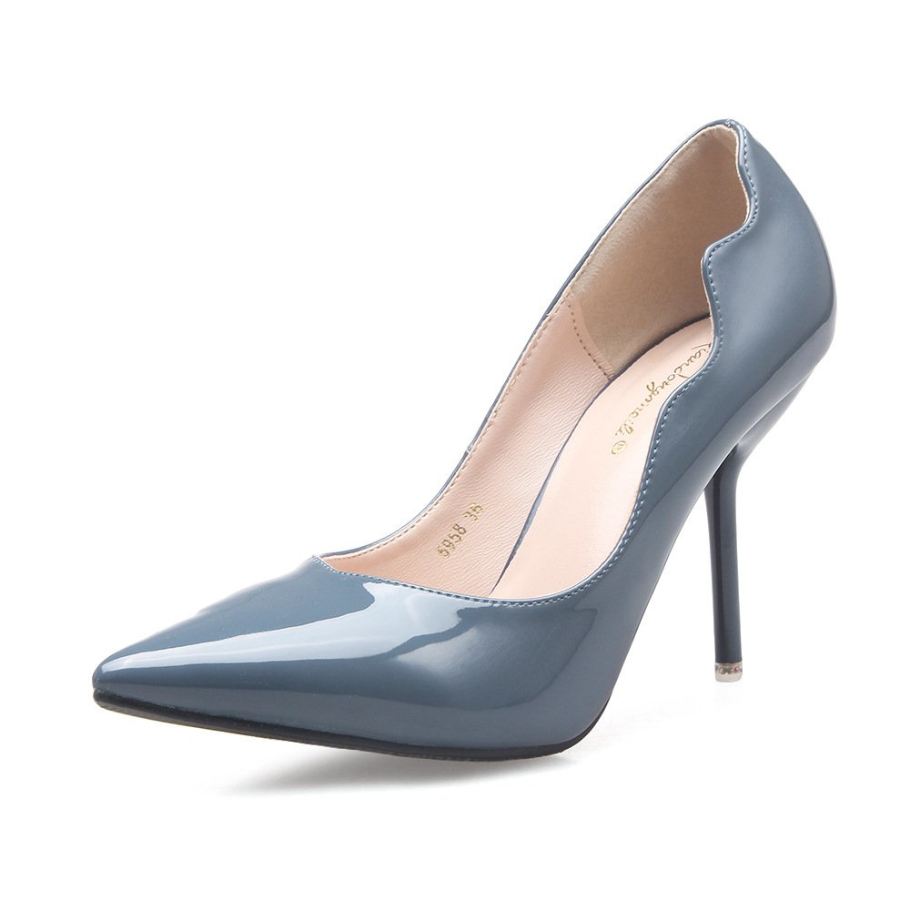 Tip spring and autumn Korean version of the high-heel shoes pointed high-heeled shoes fine with women's singles shoes 9.5cm, Blue 37