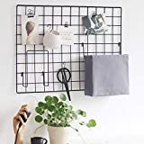 BULYZER Grid Wire Board,for Memo Picture Panel Wall Decoration for Room Office Mat Photo Hanging Art Display Frames Desk Storage Organizer,25.6'' x 17.7''(2Pack) (Hard Black)