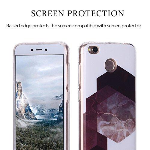 Funda Xiaomi Redmi 4X, Carcasa Redmi 4X, RosyHeart Suave Transparente TPU gel Silicona Cover con patrón de Mármol Premium Delgado Flexible a prueba de caídas Caja Protector Bumper para Xiaomi Redmi 4X Geometría