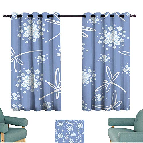 Warm Family Bedroom Curtain Seamless Pattern Vector with Wind Blow Flowers and Dragonflies Beautiful Hand-Drawn Illustration for Living, Dining, Bedroom (Pair)