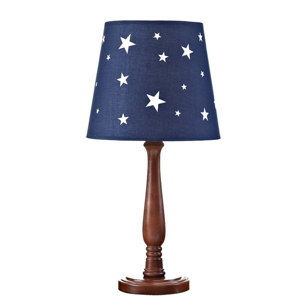 Retro table lamp bedroom bedside lamp boy decorative lamp solid wood creative American LED children learning student reading energy saving desk lamp (blue)