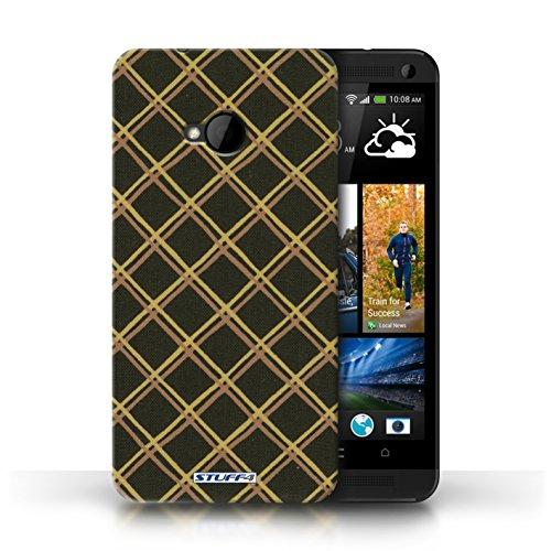 Etui / Coque pour HTC One/1 M7 / Jaune/Noir conception / Collection de Motif Entrecroisé