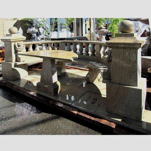 テーブル ベンチ 半円テーブル背付ベンチセット 天然 大理石 彫刻 B00FGR0Z5W