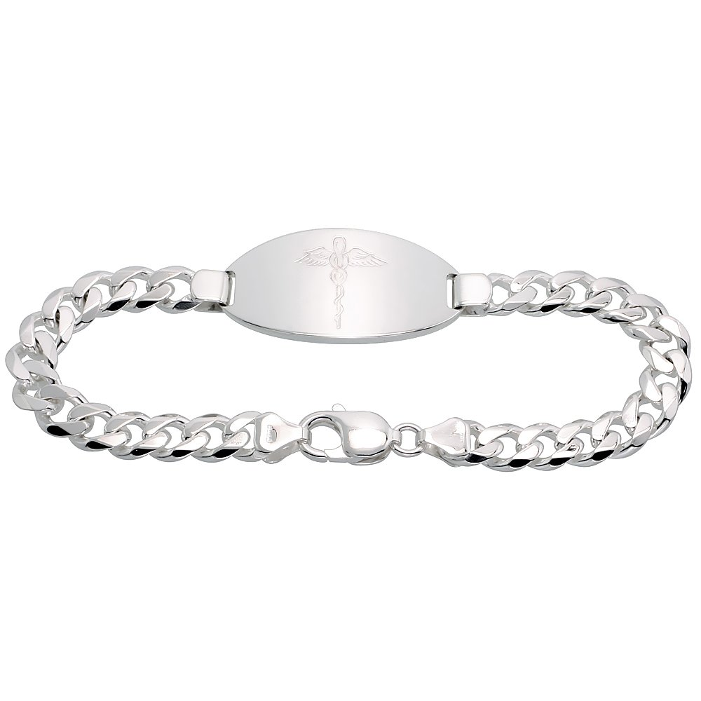 Gent's Sterling Silver Medical ID Bracelet 3/4 inch wide NICKEL FREE, 8 inch