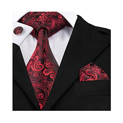 Barry.Wang Black and Red Ties Paisley Pocket Suqare Cufflinks Tie Set ()