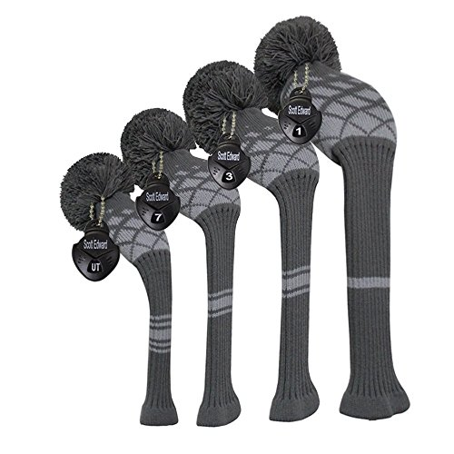 Scott Edward Grey Reticulated Pattern Golf Club Head Covers, Acrylic Yarn Double-Layers Knitted, Set of 4, with Rotatable Number Tags