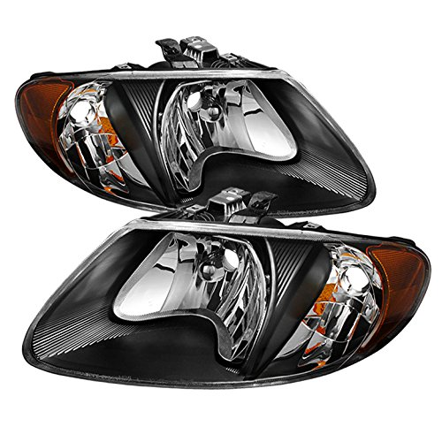 "Replacement Dodge Caravan & Grand Caravan/ Chrysler Town & Country (except '05-07 119"""" long wheel base)/ Chrysler Voyager & Grand Voyager Crystal Headlights with black housing (Headlight Voyager Housing)"