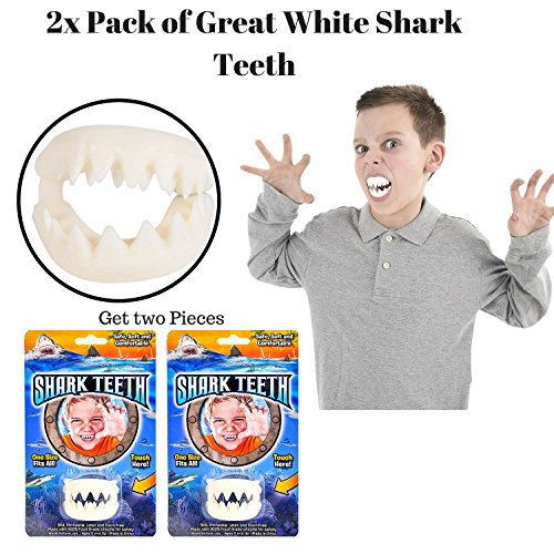 Paradise Treasures Great White Shark Teeth Mouthpiece Toy - Costume/Party Favor - Safe, Soft and Comfortable - 2 Pack