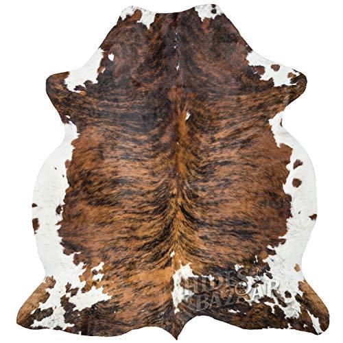 Brown Brindle Cowhide Rug Premium Quality Natural Leather Hide Area Rug 6x8ft