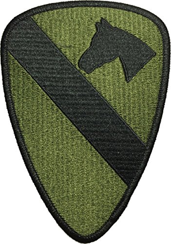 Papapatch 1st Cavalry Division Unit US Army Armed Forces Sewing Iron on Embroidered Patch - Olive Drab OD (IRON-1ST-CAVA-OD)