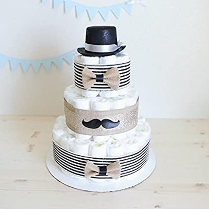 3 Tier Gentleman Mustache Diaper Cake For Baby Boy Little Man Shower Centerpiece Decoration