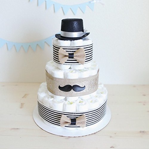 3 Tier Gentleman Mustache Diaper Cake for Baby Boy / Little Man Baby Shower Centerpiece Decoration Unique Gift / Black hat gentle man / Nursery Decor (Little Man Baby Shower Centerpieces)