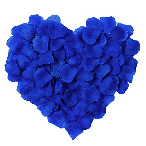 (Younglove 1000 Pcs Silk Artificial Rose Petals Romantic Wedding Party Home Decorations, Royal Blue)