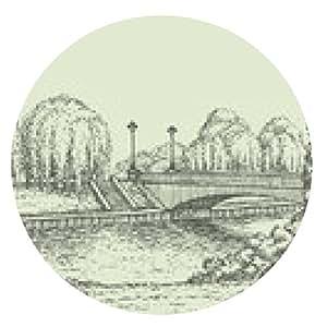 alfombrilla de ratón Vector paisaje. los árboles del parque en el puente del río con las linternas - ronda - 20cm