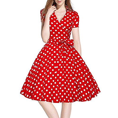 Ball Swing Retro Sans De Femme Vintage 50s Soirée Housewife Pinup 60s Robe Mrulic Casual Manche Rouge Party wxzZAqpnH