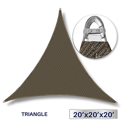 Windscreen4less A-Ring Reinforcement Large Sun Shade Sail 20 x 20 x 20 Rectangle Super Heavy Duty Strengthen Durable 260GSM -Galvanized Cable Enhanced – Brown 7 Year Warranty