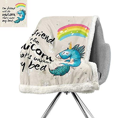 Cartoon Decor Lightweight Blanket,Unicorn Dreaming with Rainbow Magical Myst Epic Creature Pony Grace Artsy Cartoon,Cream Blue Black,Cozy,All-Season Berber Fleece Throw Blanket W59xL47 Inch ()