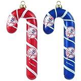 MLB New York Yankees Blown Glass Candy Cane Ornament Set