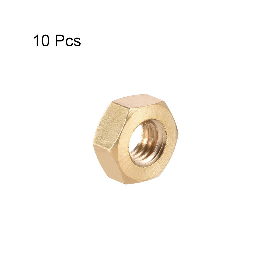 Hexagon Nuts DealMux Pack of 10 Hexagonal nut with Metric Thick Thread M8x1.25 mm Brass