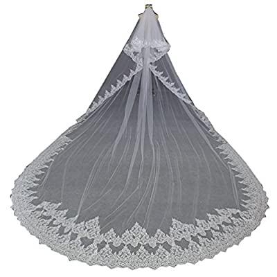 Kelaixiang Luxury 5 Meters Full Edge with Lace Sequins Two Layers Long Wedding Veil with Comb
