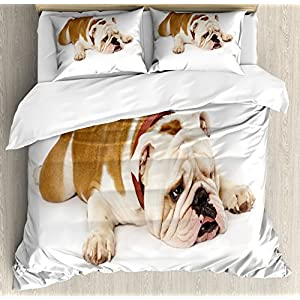 Ambesonne English Bulldog Duvet Cover Set, Sad and Tired Bulldog Laying Down European Pure Breed Animal Photography, Decorative 3 Piece Bedding Set with 2 Pillow Shams, King Size, Brown Cream 14
